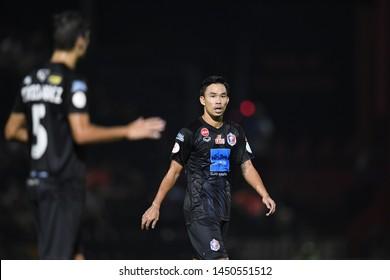 BANGKOK RATCHABURI-JULY 6:Sumanya purisai of Port Fc in action during Thai League 2019 between Port Fc and Ratchaburi Mitr Phol F.C. at Mitr Phol Stadium on July 6,2019 in Ratchaburi Thailand