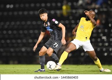 BANGKOK RATCHABURI-JULY 6:Tanaboon Kesarat of Port Fc in action during Thai League 2019 between Port Fc and Ratchaburi Mitr Phol F.C. at Mitr Phol Stadium on July 6,2019 in Ratchaburi Thailand