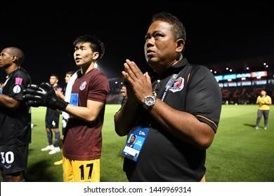 BANGKOK RATCHABURI-JULY 6:TJadet Meelarp of Port Fc in action during Thai League 2019 between Port Fc and Ratchaburi Mitr Phol F.C. at Mitr Phol Stadium on July 6,2019 in Ratchaburi Thailand