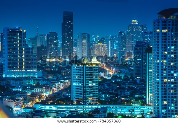 Bangkok River Side Cityscape Bangkok Night Stock Photo Edit
