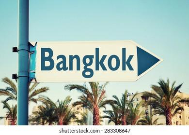 Bangkok Road Sign. Thailand. Travel Destinations Set