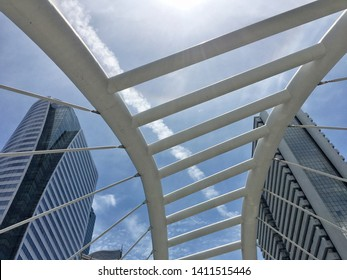 Bangkok Sathorn Skywalk district with high building,Thailand on May 29 ,2019.