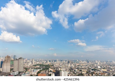 Bangkok scape, beaty clouds clear sky scenery of the city center at Bangkok, Thailand, Asia