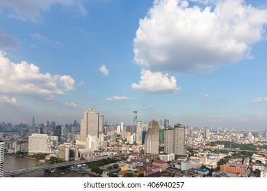 Bangkok scape, beauty clouds clear sky scenery of the city center at Bangkok, Thailand, Asia