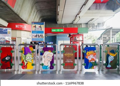 Bangkok - Sept 2, 2018 : A photo of Netflix offline media advertising on the skytrain in Bangkok, Thonglor station, with the promotion of new series of Disenchantment. Offline marketing strategies.