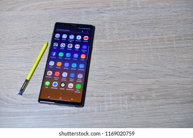 BANGKOK - SEPTEMBER 01 : The New Galaxy Samsung Galaxy Note 9, newest of smart phone of Samsung IT & Mobile Communications, on September 01, 2018 Bangkok, Thailand.