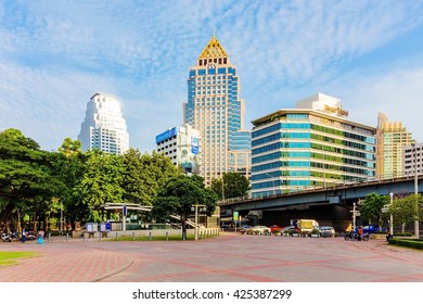 BANGKOK - SEPTEMBER 14: Hotel area in downtown Bangkok with Silom station in the foreground. Silom is a central business area which also attracts tourists in Bangkok on September 14, 2014 in Bangkok.
