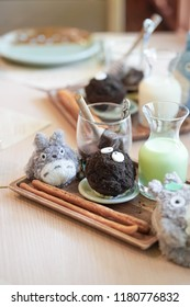 Bangkok - September 15, 2018 : A Totoro dessert, ice mint chocolate drink inspired from famous Japanese children animation My Neighnour Totoro, created by Hayao Miyazaki, co-founder of Ghibli Studio.