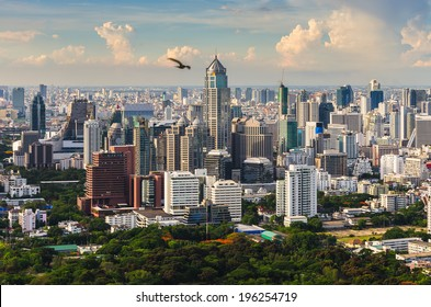 Bangkok sky line with huge park before sunset