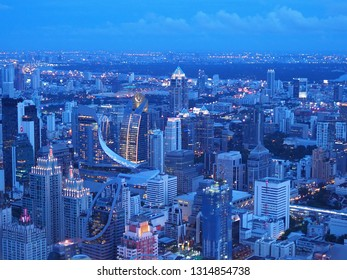 Bangkok sky, Thailand 24 May 2018: The atmosphere of the sky in the evening of Bangkok is bright,  clear, beautiful, and without a small dust.