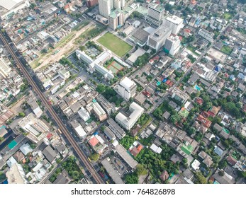 Bangkok skyline business district building with green tree sunshine day, Thailand
