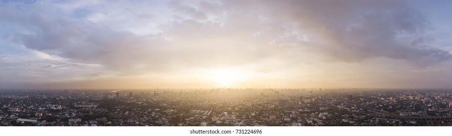 Bangkok Skyline with Dramatic Sunset Aerial Sky Panorama,