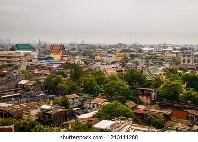 Bangkok skyline from Golden Mountain Temple, Wat Saket, Thailand
