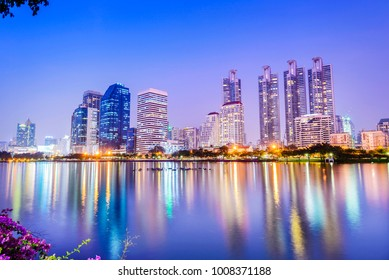 Bangkok skyline. Located in Benjakiti Park, Bangkok, Thailand.