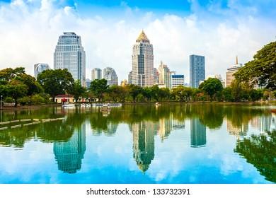 Bangkok skyline from Lumphini Park, Thailand.
