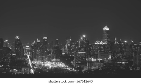 Bangkok skyline at night. Beautiful cityscape in black and white.