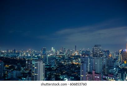 Bangkok skyline at night panorama.