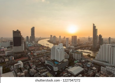 Bangkok Skyline View in Night Beautiful light at Thailand