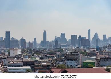 Bangkok skyline view from Wat Saket or Golden Mount temple at Bangkok, Thailand.