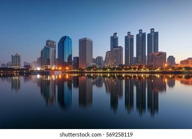 Bangkok Skyscrapers, Benjakiti Park, Thailand