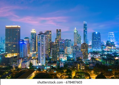 Bangkok sukhumvit business district skyline at dusk. Sukhumvit is business and foreigner residential location. There are a lots of luxury condominiums and office buildings.