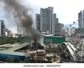 BANGKOK, SUKHUMVIT - May 4: Dinosaur planet on Sukhumvit road on fire on the May 4, 2018 in Bangkok, Sukhumvit