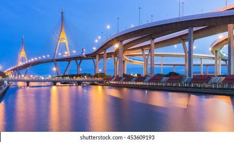 Bangkok Suspension bridge connect to highway riverfront at twilight, Thailand