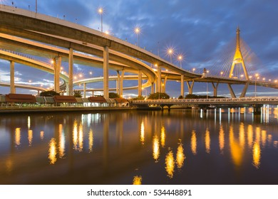 Bangkok Suspension bridge connect to highway intersection during twilight, Thailand