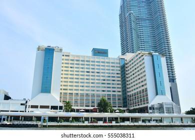 BANGKOK, TH - DEC. 12: Ramada Plaza Bangkok Menam Riverside facade on December 12, 2016 in Wat Phraya Krai, Bangkok, Thailand.