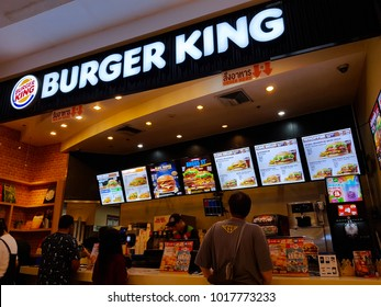 Bangkok, TH - DECEMBER 21, 2017: American Burger King's branch are franchised in the base ground floor in the Siam Paragon, the most luxury shopping mall in Bangkok.