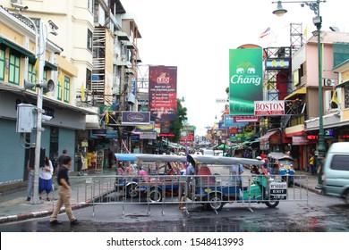Bangkok, Thai Krung Thep / Thailand - October 6 2019: Tuk tuk waiting at top of Khao San Road backpacker area. Tuktuks waiting for travelers on Khaosan Road.