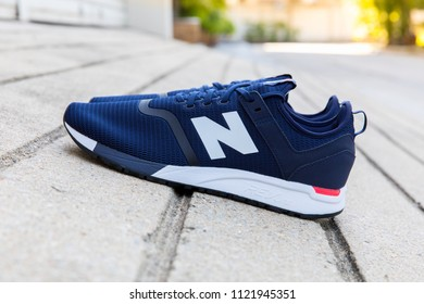 BANGKOK, THAIAND - JUNE 2, 2018:New balance shoes model MRL247DH blue color on concrete background
