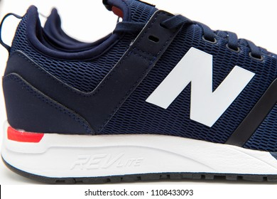 BANGKOK, THAIAND - MAY 29, 2018:New balance shoes model MRL247DH blue color on white background.