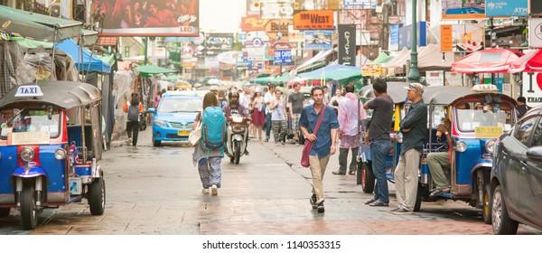 BANGKOK, THAILAND - 03. MAY 2018. Khao San Road is popular backpacker tourists street in Bangkok Thailand. Day editorial shot