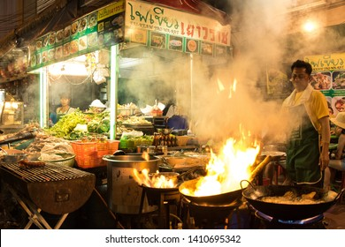 Bangkok / Thailand - 06 18 2018: Open air restaurant in Bangkok Chinatown