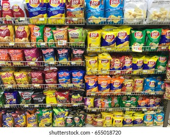 Bangkok, THAILAND - 06 JUNE, 2017: interior of 7-Eleven store in Bangkok. 7-Eleven is an international chain of convenience stores. Thailand lifestyle.