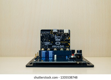 Bangkok, Thailand - 07 DEC 2018 : Micro bit is a small electronic device used to learn modern technology as a basis for programming in computer science and computing science. Concept Modern education