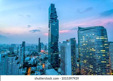 Bangkok / Thailand - 08 /20/2016: MahaNakhon Tower during Sunset Silom / Sathon business district