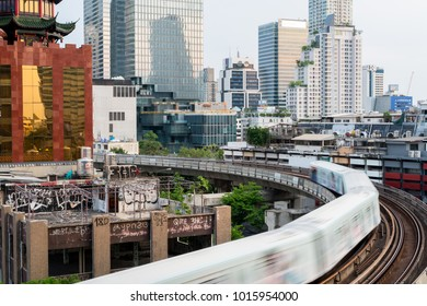 Bangkok / Thailand - 08 /23/2016: BTS Sky Train in Motion