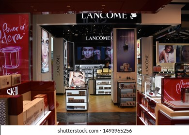 Bangkok, Thailand, 08.20.2019: Chanel, Estee Lauder, Dior, Urban Decay, Shu Uemura, Lancome, SK-II stores in the Duty Free shopping area of the King Power MahaNakhon skyscraper