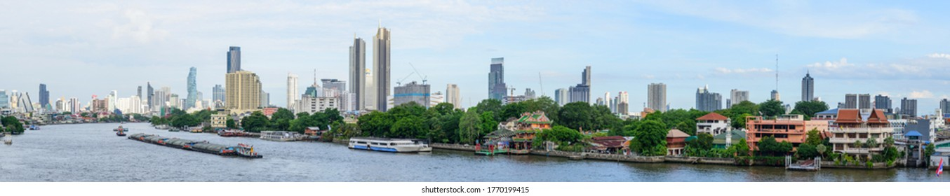 Bangkok , Thailand - 1 July, 2020: Panorama view from Chao Phraya Sky Park new public park in Bangkok