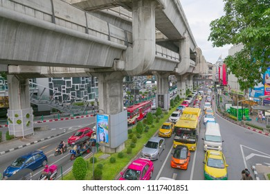 Bangkok, Thailand, 1 May 2018: Bangkok urban industrial  cityscape