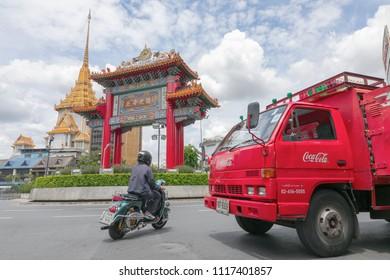 Bangkok, Thailand, 1 May 2018: Bangkok chinatown cityscape
