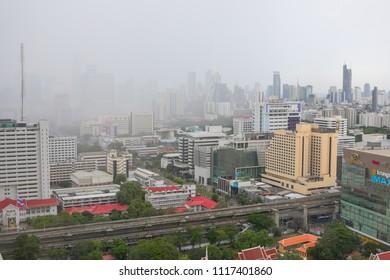 Bangkok, Thailand, 1 May 2018: Storm hits Bangkok urban industrial cityscape