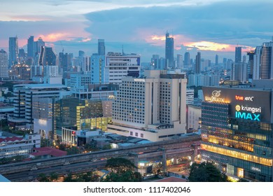 Bangkok, Thailand, 1 May 2018: Bangkok city skyline at twilight