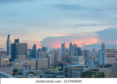 Bangkok, Thailand, 1 May 2018: Bangkok city skyline at twilight