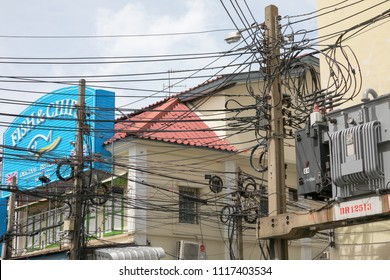 Bangkok, Thailand, 1 May 2018: Bangkok electricityline cityscape