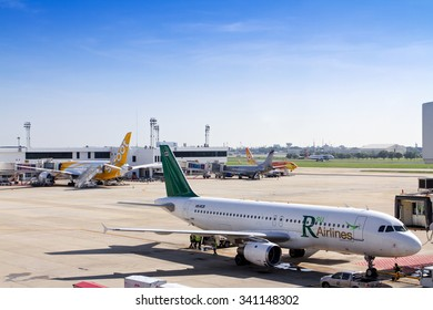 BANGKOK, THAILAND - 1 NOVEMBER 2015 - RSU Airlines is parked at the gate at Don Mueang International Airport in Thailand.