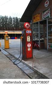 Bangkok Thailand, 1 October 2017. Vintage Mobil and Shell Gas pump showing at walking street Thailand