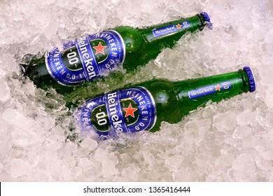 Bangkok Thailand. 10 April, 2019 :  Non-alcoholic version of Heineken 0.0 beer. New products of Heineken.